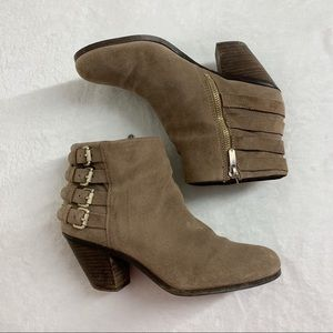 Sam Edelman Lucca Suede Ankle Boots 4 Buckles
